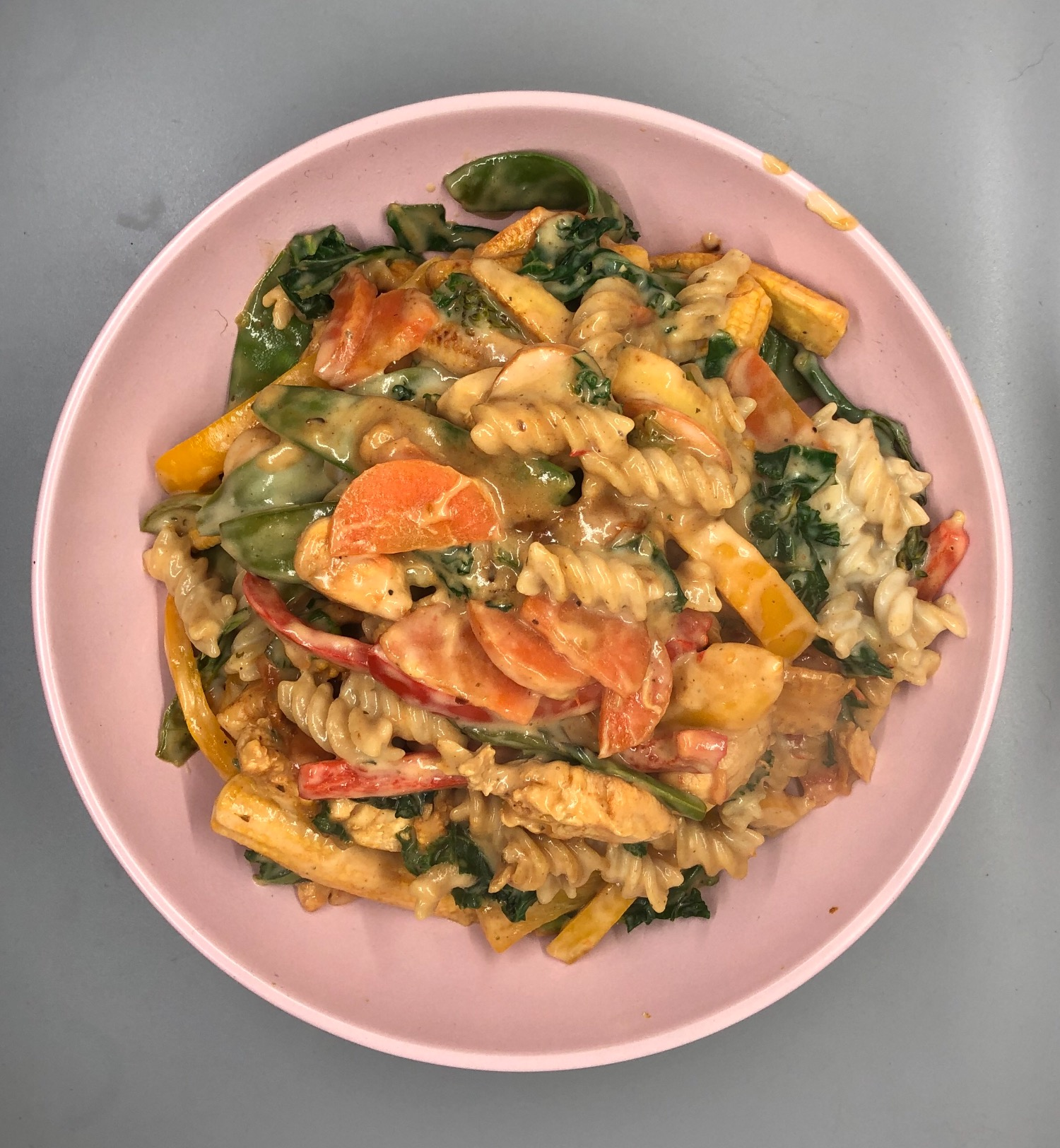 Cream Cajun chicken and veg pasta