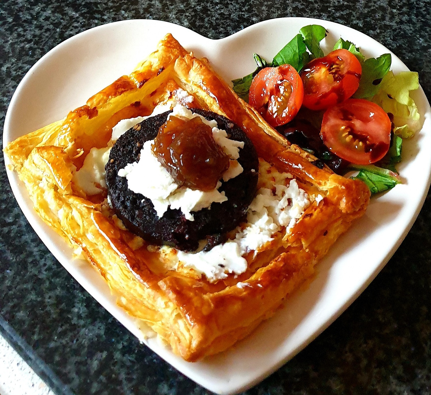 Black Pudding Tarts with Goats cheese and onion relish